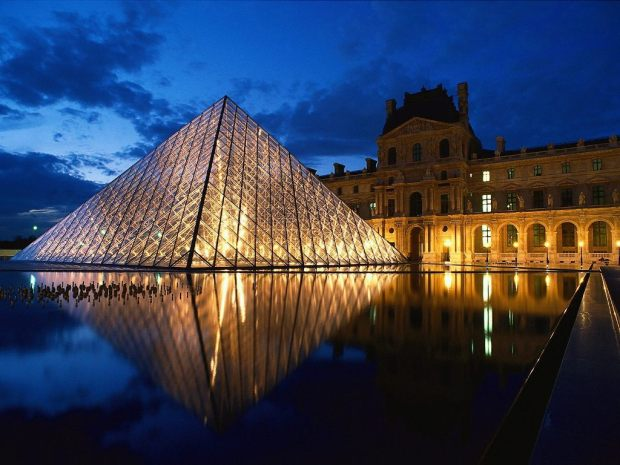 Pyramid at Louvre Museum_ Paris_ France